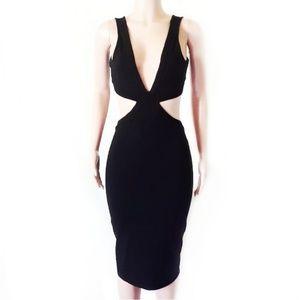 Nasty Gal Black Cut Out Low-V Midi Tight Dress